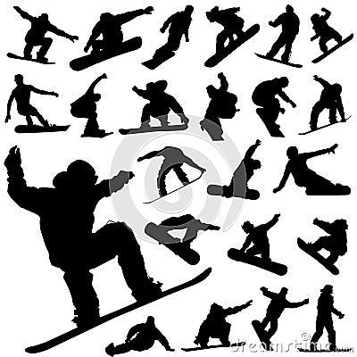 Snowboard set vector