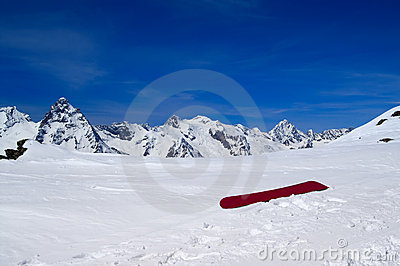 Snowboard on the ski slope