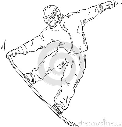 how to draw a snowboard