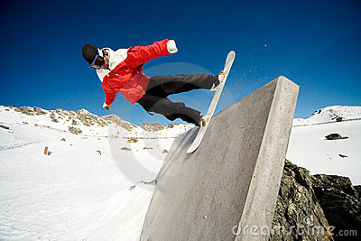Snowboard wall ride