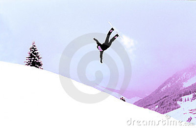 Snowboarder in action