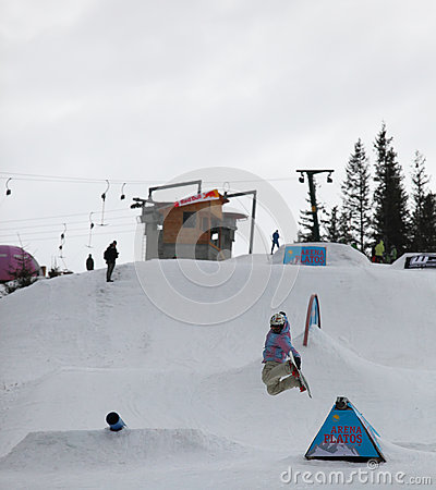 Snowboarder at Arena Platos ski slope Editorial Image