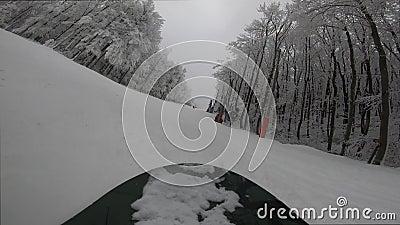Snowboarder in discesa Ombra dello snowboarder video d archivio