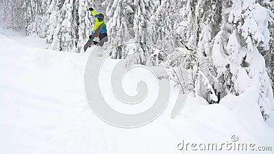 Snowboarder extremo cavalgando em pó fresco nevando pelo declive da montanha Movimento lento video estoque