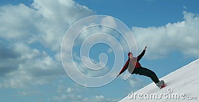 Snowboarder flying