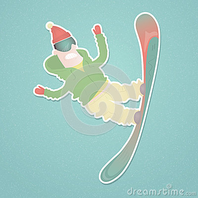 Snowboarder flying against. Paper cutout