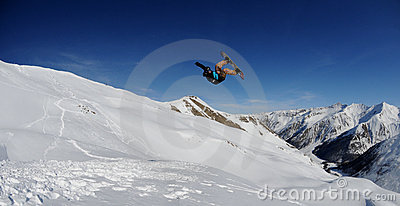 Snowboarder in France Alps