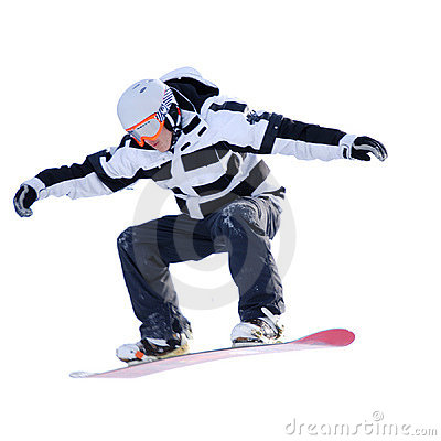 Snowboarder isolated on white