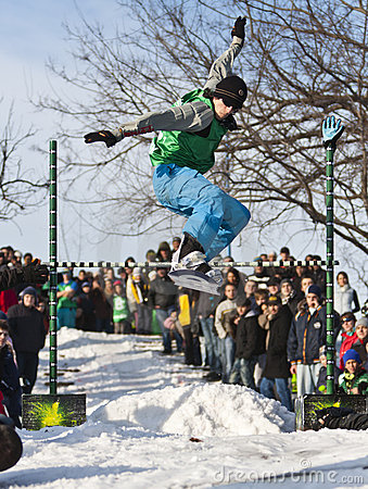 Snowboarder Jumping Editorial Photo