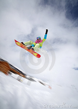 Free Snowboarder Jumping High Royalty Free Stock Image - 18179066