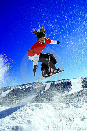 Free Snowboarder Make A Jump Stock Image - 7299001