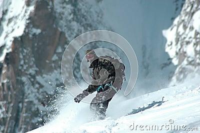 Snowboarder on Mt Blanc