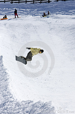 Free Snowboarder On Half Pipe Of Pradollano Ski Resort In Spain Royalty Free Stock Image - 677866