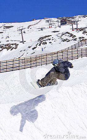 Free Snowboarder On Half Pipe Of Pradollano Ski Resort In Spain Stock Images - 678064