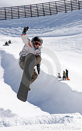 Free Snowboarder On Half Pipe Of Pradollano Ski Resort In Spain Royalty Free Stock Photography - 681637