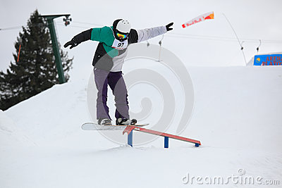 Snowboarder rail Editorial Photo