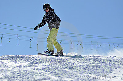 Snowboarder on the slope Editorial Stock Image
