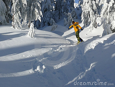 Snowboarder in yellow