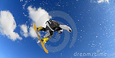Snowboarders  in race