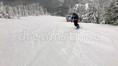 Snowboarding στα τσεχικά βουνά Πίσω χώρα απόθεμα βίντεο