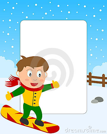 Snowboarding Boy Photo Frame