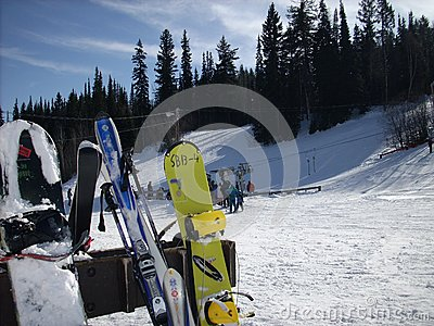 Snowboards at the ski hill