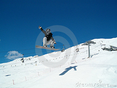 Snowborder (girl) jumping