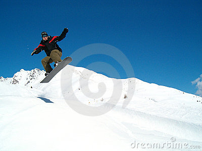 Snowborder jumping