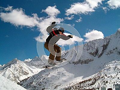 Snowborder jumping