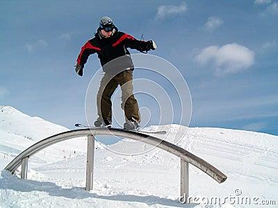Snowborder on the ramp