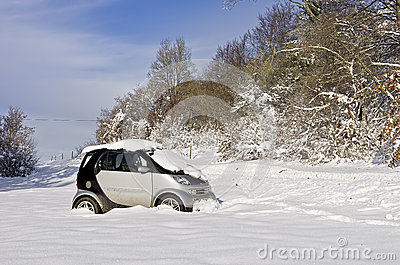 Snowbound Abandoned Car Editorial Stock Image