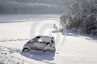 Snowbound Abandoned Car Editorial Image