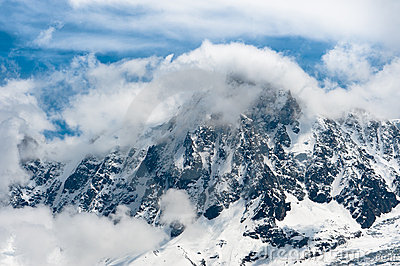 Snowbound mountain peaks in Alps.