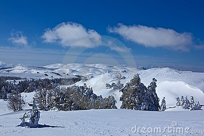 Snowbound mountain plateau
