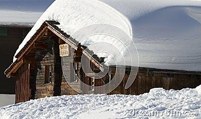 Snowbound wooden chalet