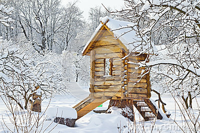 Snowbound wooden lodge