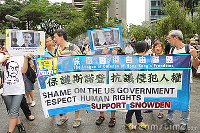 Snowden Gains Support From Protesters in Hong Kong Editorial Stock Image