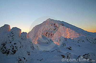 Snowdon Sunrise glow on Snow