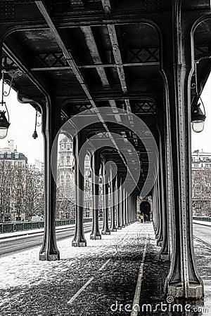 Free Snowfall Over Pont De Bir-Hakeim - Paris, France Stock Image - 139343991