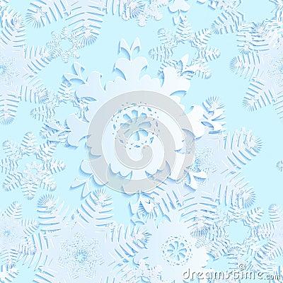 Snowflake blue seamless