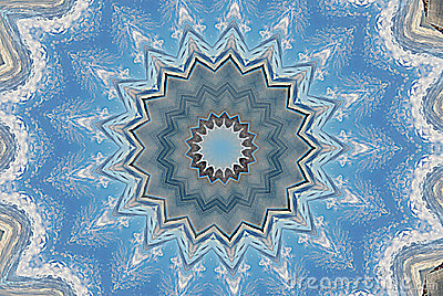 Snowflake blue star kaleidoscope pattern