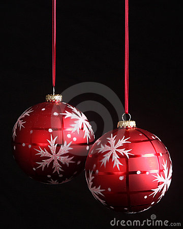Snowflake Christmas ornaments with copy space