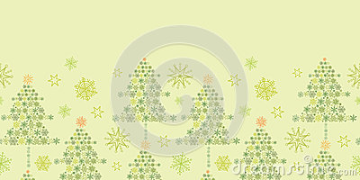 Snowflake Christmas Trees Horizontal Seamless