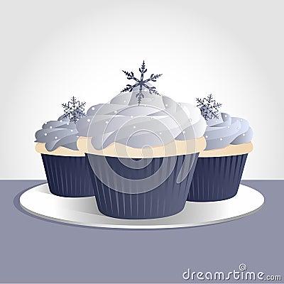 Free Snowflake Cupcakes Stock Photography - 17253942