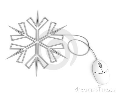 Snowflake depicted with computer mouse cable