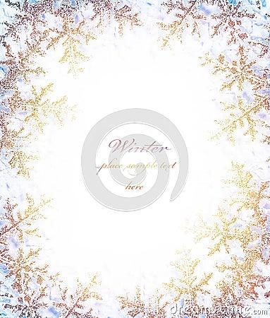 Snowflake golden decorative frame