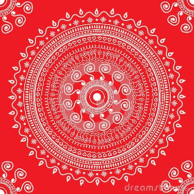 Snowflake heart love repeating pattern seamless red Vector Illustration