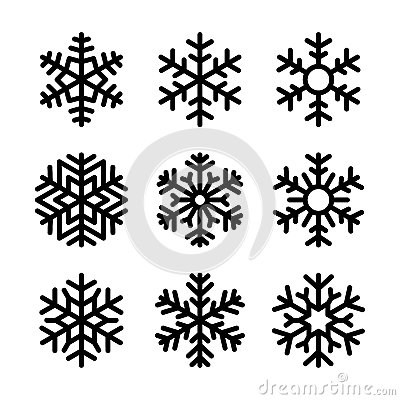 Free Snowflake Icons Set On White Background. Vector Royalty Free Stock Images - 47278359