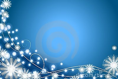 Snowflake and Lights Blue Background