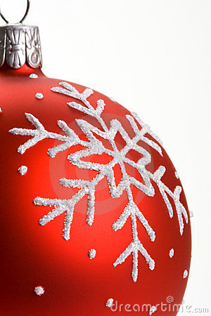 Snowflake red Christmas bauble